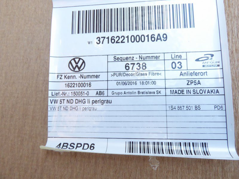 PODSUFITKA SUFIT VW UP 1S4867501BS